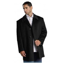 Mens Single Breasted Three Buttons Wool Blend Overcoat