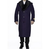 Mens Removable Fur Collar Full Length Wool Purple Dress Top Coat / Overcoat