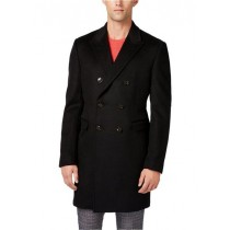 Mens Lawrence Topcoat Double-Breasted Wool Solid Overcoat