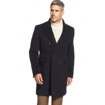 Mens Navy Topcoat Double-Breasted Wool Blend Solid Overcoat