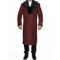Mens Red Removable Fur Collar Full Length Top Coat / Overcoat