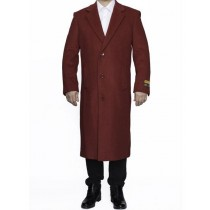 Mens Full Length Wool Red Top Coat / Overcoat