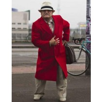 Mens  Trench coat - Red Wool Fabric Trench Coat Single Breasted Long Topcoat