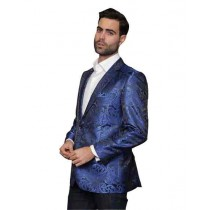 Royal Blue Alberto Nardoni Floral Pattern Jacket