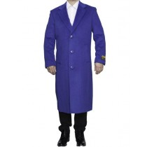 Mens Full Length Wool Royal Blue Top Coat / Overcoat