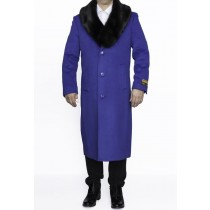 Mens Wool Coat With Fur Collar Royal Blue Full Length Overcoat