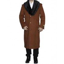 Rust Removable Fur Collar Wool full length - Mens Topcoat / Overcoat