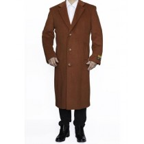 Mens Rust Full Length Wool Dress Top Coat / Overcoat