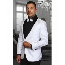 Mens White Two Toned Paisley Shawl Lapel Blazer