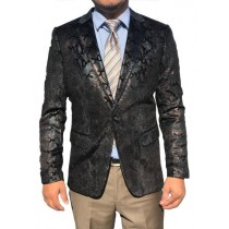 Mens Sequin Shiny Paisley Black Sport Coat