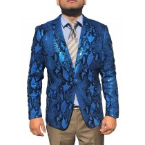 Mens Sequin Shiny Paisley Blue Sport Coat