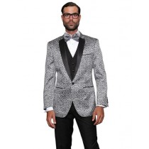 Alberto Nardoni Mens Silver Grey Sport Coat Two Toned Blazer