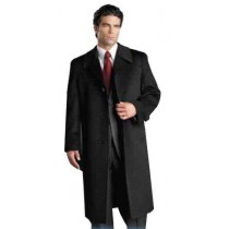 Men's Cashmere Single Breasted Three Quarter Topcoat Notch Lapel