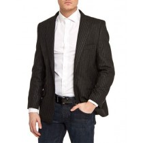 Single Breasted Black Slim Fit Pinstripe One Button Blazer