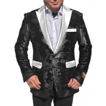 Alberto Nardoni Black White Lapel Shiny Sequin