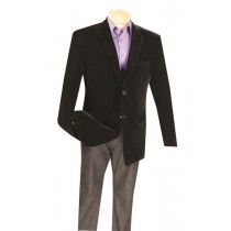 MensTwo Button Black big and tall velvet blazer / Sport Coat