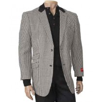 Mens Black/White Peal Lapel houndstooth checkered Blazer