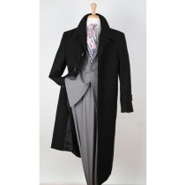 Mens Single Breasted Wool Gabardine Black Top Overcoat