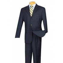 Mens Blue plaid windowpane pattern pleated pants Coat