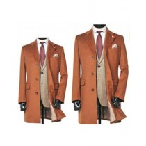 Single Breasted Notch Lapel 3 Button Brown Cashmere Wool Overcoat