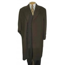 Mens Full Length Chocolate brown Overcoat Wool - Mens Topcoat