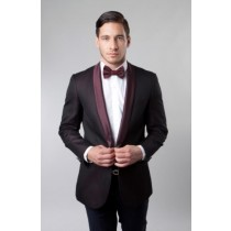 Burgundy Shawl Collar Single Button Jacket / Blazer Sport coat
