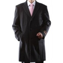 Single Breasted Dress Coat Three-quarter charcoal Wool/Cashmere Topcoat