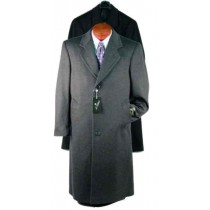 Charcoal Gray Single Breasted Wool Blend overcoat - Mens Topcoats