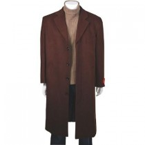 Classic single breasted CoCo Dark Brown Wool Cashmere - Cashmere Topcoat - Mens Cashmere Overcoat - Cashmere Coat