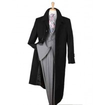 Black Duster Big & Tall Top Coat mens full length wool overcoat