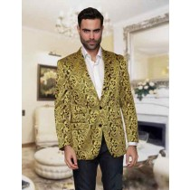 Mens Floral Sateen Alberto Nardoni Jacket Gold Sport Coat