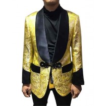 Alberto Nardoni Gold Floral Shiny Sport Coat Tuxedo