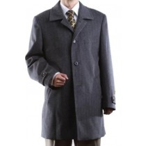 Single Breasted Gray Three-quarter Length Luxury Wool Cashmere Topcoat