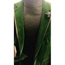 Green Buttons Closure Single Breasted Notch Lapel Overcoat