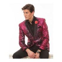 Alberto Nardoni Hot Pink Lapel Sequin Jacket Shiny