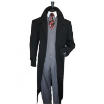 Mens Dress Coat Single Breasted 100% Wool Jet Black Overcoat