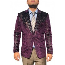 Mens Purple Sequin Shiny Paisley Sport Coat Blazer