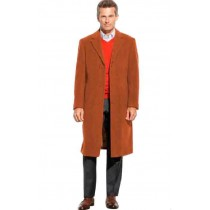 Rust 65% Wool full length Notch Lapel - Mens Topcoat /  Overcoat