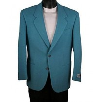 Mens Two Button Navy Teal Blue Wool Blazer