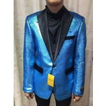 Alberto Nardoni Turquoise Shiny Flashy Paisley Blazer