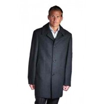 Single Breasted 34 Inch Wool Blend Car Coat Black ~ Charcoal