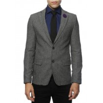 Gray Herringbone Sport Coat - Slim Fit Men's Blazer