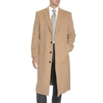Mens Tan Single Breasted Full Length Wool Cashmere Overcoat
