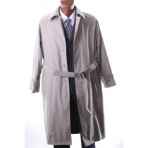 Mens Dress Taupe Full Length Raincoat-Trench Coat Long Style