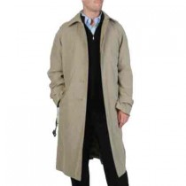 Mens Renny Full-length Belted Taupe Raincoat