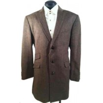 Luxurious Taupe Wool Blend Car Coat Herringbone Tweed
