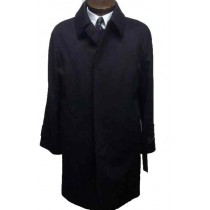 Three button single breasted Wool fly front Black Overcoat