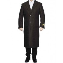 Mens Brown Full Length Wool Dress Top Coat / Overcoat
