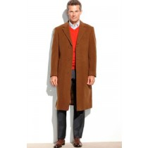 Mens Brown Peacoat 65% Wool full length Overcoat
