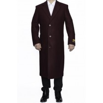 Mens Full Length Wool Dress Burgundy Color Top Coat / Overcoat